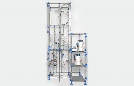 Evaporador de película descendente con rectificación continua
